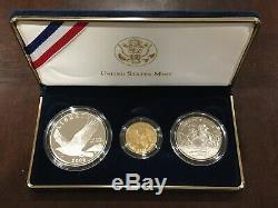 2008 U. S. Mint Bald Eagle Commemorative 3-Coin Proof Set withBox EN556 Gold/Silver