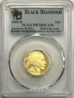 2008-W $10 1/4-oz Gold Buffalo Coin PCGS PR70DCAM
