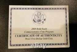 2008-W Proof $5 Gold Bald Eagle Commemorative Coin with Box, OGP & COA