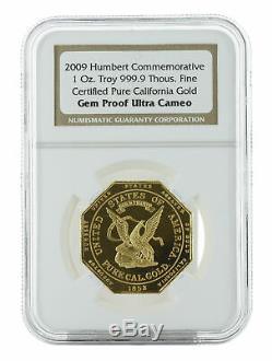 2009 1oz Humbert Commemorative Gold Ingot Gem Proof NGC California Gold