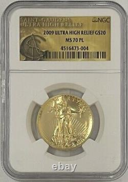 2009 $20 Ultra High Relief St Gaudens UHR Gold Double Eagle NGC MS70 PL