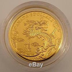 2012 Canadian $5 1/10 Oz. 9999 Gold Year of the Dragon