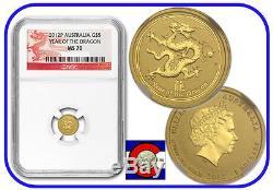 2012 Lunar Dragon 1/20 oz $5 Gold Coin, NGC MS-70, Australia, Series II