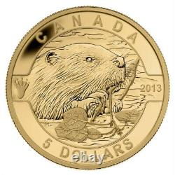 2013 $5 Pure Gold Coin Beaver