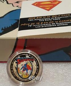 2013 $75 Superman 14kt Gold Coin Canada 75th Anniversary Superman Early Years