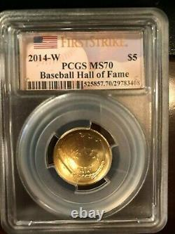 2014 3 Coin Baseball Hall of Fame Comm GOLD Silver Set PCGS MS70 First Strike