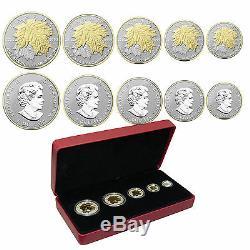 2014 Canadian Silver Maple Leaf Fractional Coin Set (Gold Gilded) OGP + COA