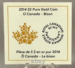 2014 O Canada $5 Dollars 9999 gold coin BISON proof