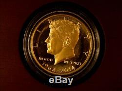 2014-wgold 3/4 Ozproof Gold Kennedy Half Dollar(scratched Obverse)ogp & Coa