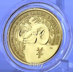 2015 $5 Year of the Sheep, 1/10 oz. Pure Gold Specimen Coin, Canadian Bighorn
