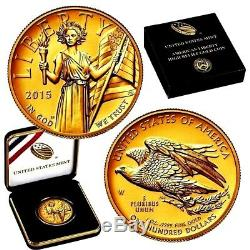 2015 Ultra High Relief Liberty $100 Gold Coin-unopened As Shipped By Us Mint