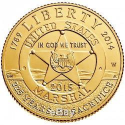2015-W $5 U. S. Marshals Service Gold Commemorative Uncirculated Coin (OGP/COA)