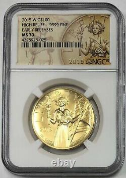 2015 W American Liberty High Relief Early Releases Gold $100 NGC MS70