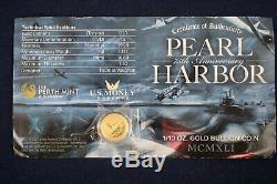 2016 $15 Pearl Harbor Perth Mint 1/10 oz. 9999 Gold 75th Anniversary Coin