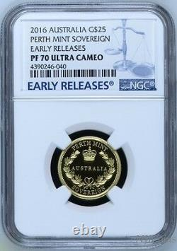 2016 Australia Sovereign 1/4 oz GOLD $25 coin NGC PF70 UC ER with OGP