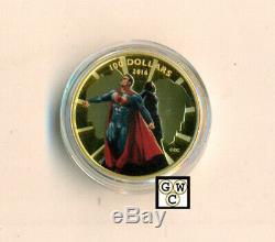 2016 Gold'Batman v Superman Dawn of Justice(TM)' Color Prf $100Coin(17615)OOAK