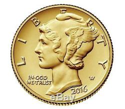 2016 Mercury Dime Centennial Gold Coin 24k Gold