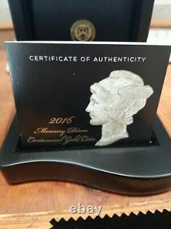 2016 Mercury Dime Centennial Gold Coin in box with COA 99.99% Gold West Point
