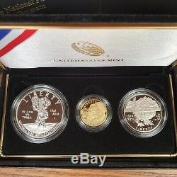 2016 National Park Service 100th Anniversary 3-Coin Proof Set $5 Gold Box COA