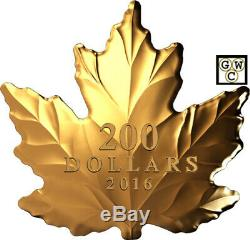 2016'Nature's Pure Form Maple Leaf' Shaped Prf $200Fine Gold 1oz. Coin(17750)(NT)