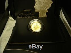2016 U. S. Gold Mercury Dime Centennial Commemorative Coin 1/10 Oz. Mint In Box