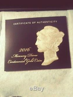2016 U. S. Mint Mercury Dime Centennial Gold Coin