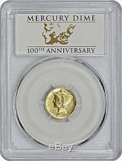 2016 W 10c, 25c, 50c 100th Anniv. 24kt Gold 3 Coin Set All Pcgs 1st. Strike Sp70