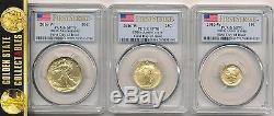 2016 W 3 Coin Gold Centennial Set Pcgs Sp70 First Day 1/150 Pop Flag+ogp