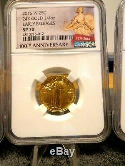 2016 W CENTENNIAL 3 Coin set 100th Anniversary NGC SP70 Gold 50C, 25C &10C 24K