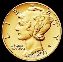 2016 W Gold Mercury Dime 1/10 Oz Gold Centennial Coin Ogp (box + Coa)