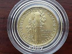 2016-W Gold Mercury Dime 1/10 oz 100th Anniversary Coin OGP US Mint