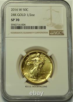 2016 W Gold Walking Liberty Half Dollar Centennial Coin NGC SP70