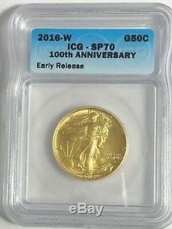 2016 W Icg Sp70 Er 1/2 Oz Gold Walking Liberty Centennial Coin With Box And Coa