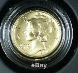 2016-W Mercury Dime 1/10th Oz 9999 Gold Centennial Coin with US Mint Box COA