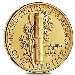 2016-W Mercury Dime Centennial Commemorative 1/10 Oz Gold Coin