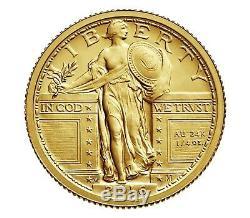 2016 W Standing Liberty Quarter Centennial Gold Coin 24K WithBox and COA