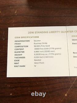 2016-W Standing Liberty Quarter Centennial Gold Coin With OGP & COA