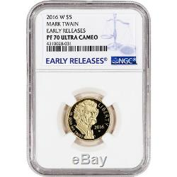 2016-W US Gold $5 Mark Twain Commemorative Proof NGC PF70 Early Releases