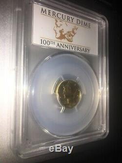 2016-W US Mercury Dime 1/10oz 24kt Gold PCGS SP 70 Centennial First Strike Coin