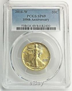 2016-W WALKING LIBERTY. 50C Gold (1/2 OZ) Coin PCGS SP69 100th Anniversary