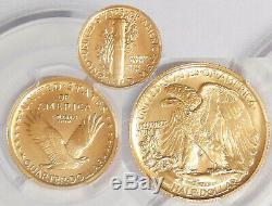 2016-w Pcgs Sp-70 Gold Centennial 3 Coin Set Dime, Quarter, Half In Gold