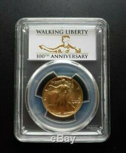 2016-w Walking Liberty 1/2 Oz Gold Half Dollar Pcgs Sp70 First Strike