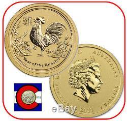 2017 Lunar Rooster 1/20 oz $5 Gold Coin, Series II, Perth Mint in Australia
