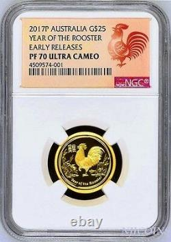 2017 P Australia PROOF GOLD $25 Lunar Year ROOSTER NGC PF70 1/4 oz $25 Coin ER