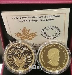 2017 Raven Brings the Light $100 14-karat Gold Proof Coin Canada, Mintage 2000