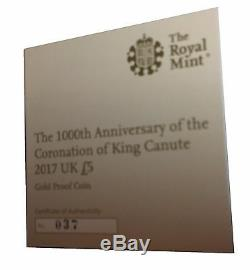 2017 The 1000th Anniversary Coronation of King Canute Gold Proof Five Pound Coin