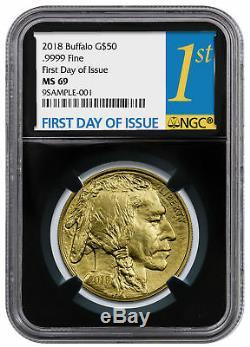 2018 1 oz Gold Buffalo $50 Coin NGC MS69 FDI Black Core Holder SKU50653