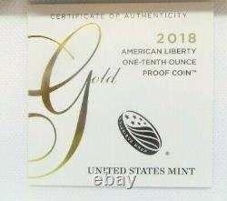 2018 American Liberty One-Tenth Ounce $10 Gold Proof Coin