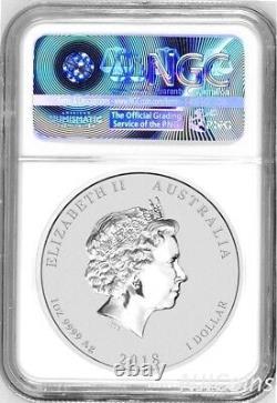 2018 P Australia GILDED Silver Lunar Year of DOG NGC MS 70 1oz $1 Coin Gilt