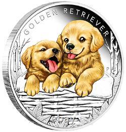2018 Puppies GOLDEN RETRIEVER Tuvalu 1/2 oz Silver Proof 50c Half Dollar Coin